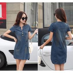Đầm Jean 3 nút cá tính