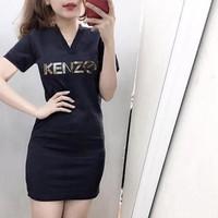Đầm thun body cổ V KENZO thun cao cấp DTT41