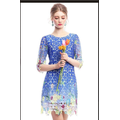 Đầm ren hoa nổi in 3d cao cấp