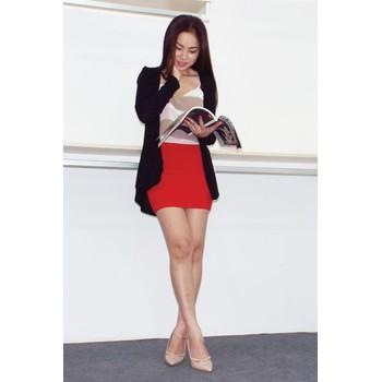 Áo khoác cardigan Hàn Quốc mỏng dài IN001BLK đen
