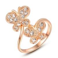 Nhẫn đôi bướm mạ màu vàng hồng R0016-RGP