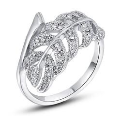 Nhẫn chiếc lá mạ vàng trắng sang trọng R0013-WP