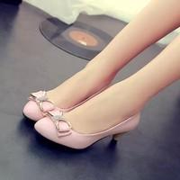 Giày Xinh Phối Nơ Gót 5cm