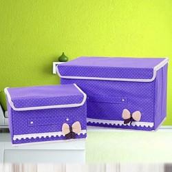 Combo 2 hộp vải chấm bi đính nơ dễ thương