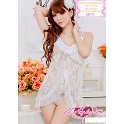 Đầm ngủ sexy thun lưới ren hoa hồng hàng quảng châu - DN174