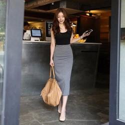 Set áo thun sát cánh kèm chân váy ôm form dài-11306