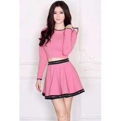 Sét áo croptop váy xòe cao cấp - SET1372