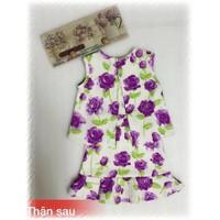 Set áo phối váy hoa hồng tím xinh tươi cho bé gái 15-25kg