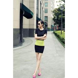 Set chân váy và áo cổ tay 2 màu TH08062