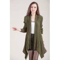 Áo khoác len cardigan nữ dài tay không cổ, dáng dài độc đáo-AK592