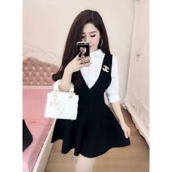 Chân váy yếm len xòe Quảng Châu nhièu màu