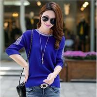 Áo len nữ form rộng tay bo họa tiết chất len min cao cấp AL35
