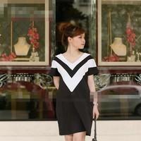 Đầm bầu công sở thun cotton thái kiểu phối đen trắng DB468