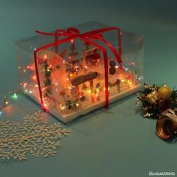 Khu vườn tuyết có đèn, gói quà nơ đỏ. Quà tặng giáng sinh độc đáo