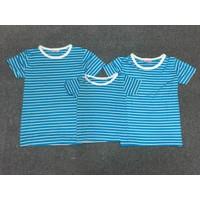 Combo 3 áo thun gia đình  xanh biển sọc trắng - GĐ 645