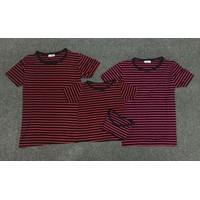 Combo 4 áo thun gia đình đen sọc  đỏ hồng - GĐ 645