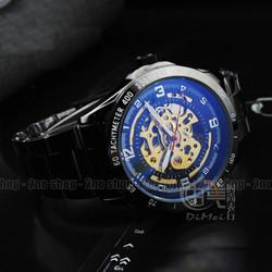 Đồng hồ lộ máy automatic vỏ đen mặt xanh huyền bí - Mã số: DH15247