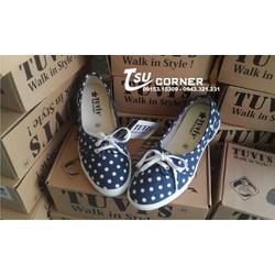 Giày búp bê nữ Tuvis Deep Blue Dot White chính hãng fullbox