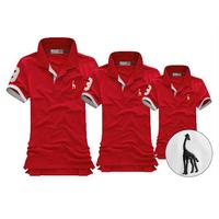 Big Bang - Combo 3 áo gia đình thun polo hươu màu đỏ, đỏ đô GD_06