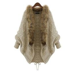 Áo khoác len cổ phối lông cao cấp