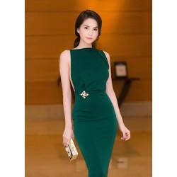 Đầm body xanh sexy hở lưng Ngọc Trinh D382
