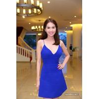 Đầm xòe 2 dây xanh Ngọc Trinh D378
