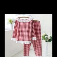 Bộ mặc nhà dài tay caro đỏ phối ren trắng NN381