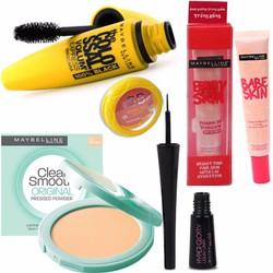 Bộ 6 Maybelline gồm Mascara, kẻ mắt, phấn, lót, má hồng