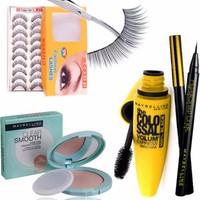 Bộ sản phẩm Maybeline gồm Mascara, bút kẻ mắt, phấn tặng kèm hộp mi