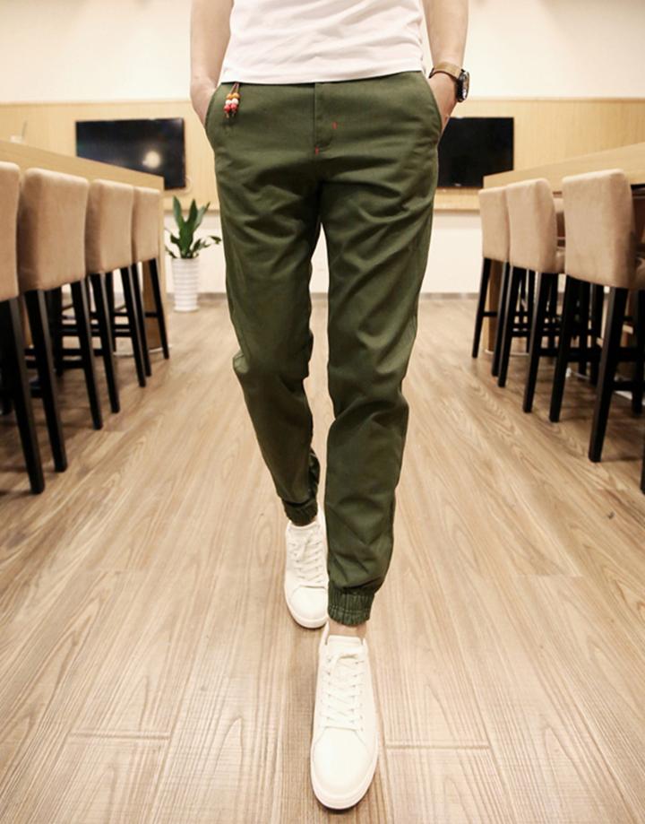 Quần Jogger Kaki  Hàn Quốc lưng thun khóa zip J5 5