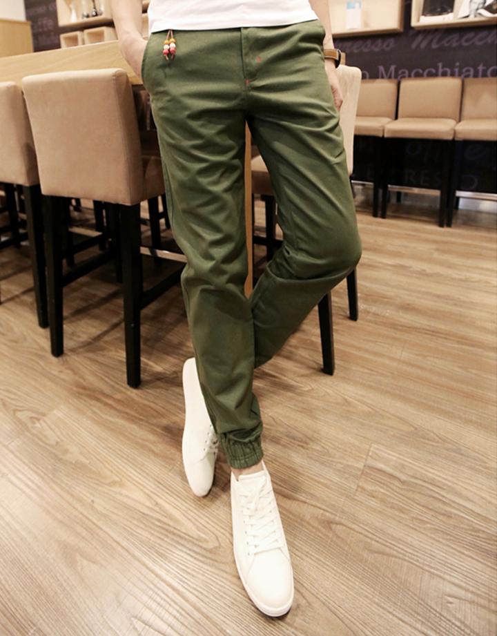 Quần Jogger Kaki  Hàn Quốc lưng thun khóa zip J5 6