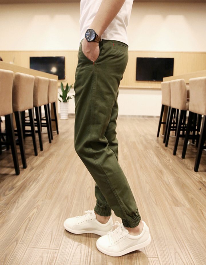 Quần Jogger Kaki  Hàn Quốc lưng thun khóa zip J5 7