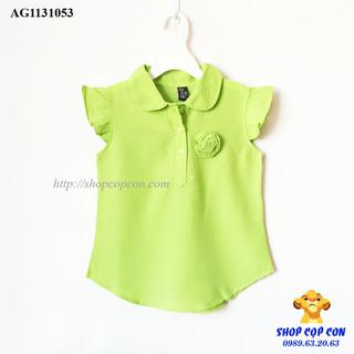 Áo kiểu tay cánh tiên đính hoa màu xanh mạ - AG1131053 thumbnail