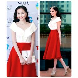 Sét áo trễ vai váy đỏ xòe cách điệu HH Diễm Hương S-TN028