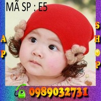 Nón len tóc giả Hàn Quốc cho bé - E5