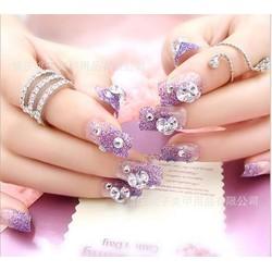 Nail giả, móng tay giả họa tiết đính đá nhiều kiểu màu hồng sang trọng