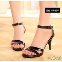Giày cao gót 2 quai đen 1800