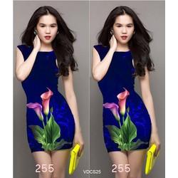 Đầm body in hoa tulip 3D giống ngọc trinh VDCS25