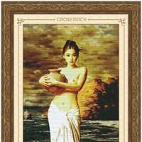 Tranh thêu chữ thập - Cô gái và bình hoa - Tranh 5D