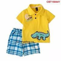 Bộ áo thun thêu đắp cá sấu quần vải caro cho bé trai 1 - 8 Tuổi