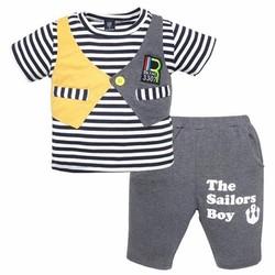 Bộ thun áo giả ghilê phối sọc cho bé cưng, 8-24kg