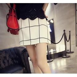 chân váy nữ bo caro Mã: VN383 - TRẮNG