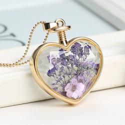 Dây chuyền hoa khô màu tím - Trái tim