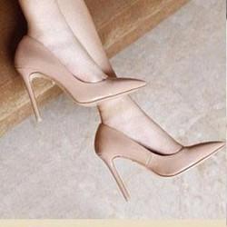 KT45 _ Giày cao gót kem nữ tính
