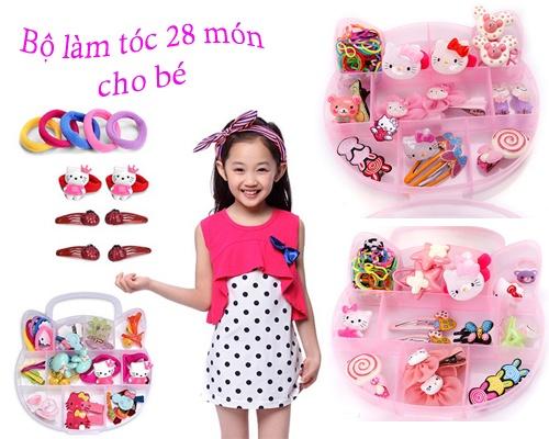 Hộp phụ kiện tóc Hello Kitty 28 món cho bé yêu