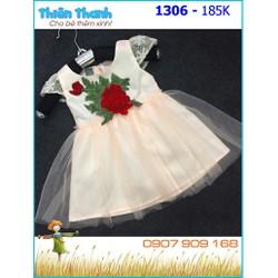 Đầm voan thêu hoa hồng xinh xắn cho bé