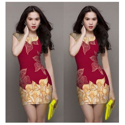 Đầm body đỏ họa tiết 3D Ngọc Trinh VNCS05