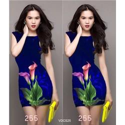 Đầm body họa tiết hoa tulip 3D Ngọc Trinh VNCS25