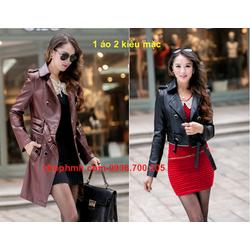 Áo khoác da nữ Hàn Quốc mặc 2 kiểu sang trọng AK-5012