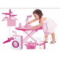 Bộ đồ chơi gia dụng cho bé có nhạc đèn, máy giặt bàn ủi có rung
